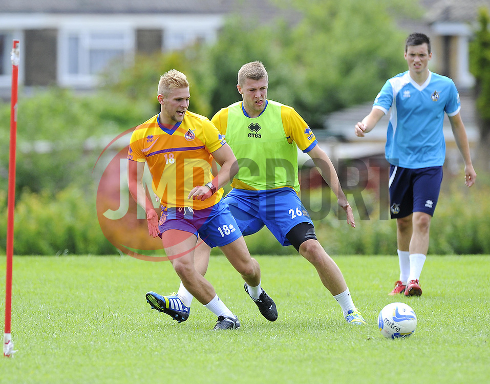 Bristol Rovers' Mitch Harding battles for the ball with Bristol Rovers' Ryan Brunt - Photo mandatory by-line: Joe Meredith/JMP - Tel: Mobile: 07966 386802 24/06/2013 - SPORT - FOOTBALL - Bristol -  Bristol Rovers - Pre Season Training - Npower League Two