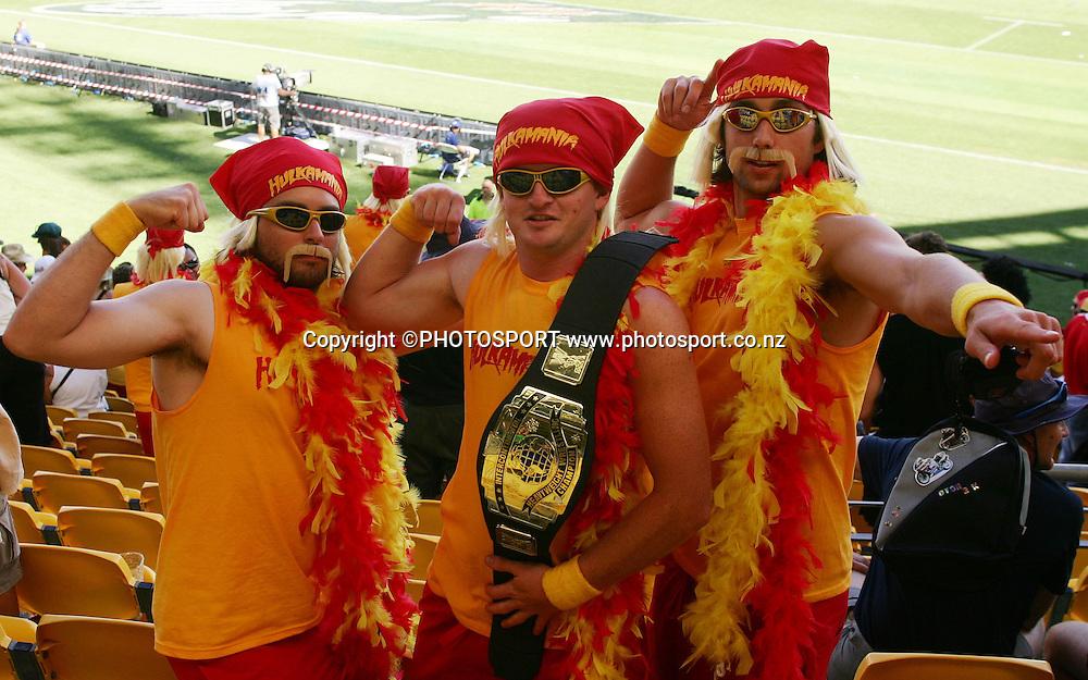 Fans dress as Hulk Hogan. NZI International Sevens day 1, Westpac Stadium, Wellington. New Zealand, Friday 1 February 2008. Photo: Renee McKay/PHOTOSPORT
