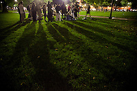 Occupy Boston members gathers to discuss during their first general assembly on Boston Common in Boston, Massachusettsm, September 27, 2011.
