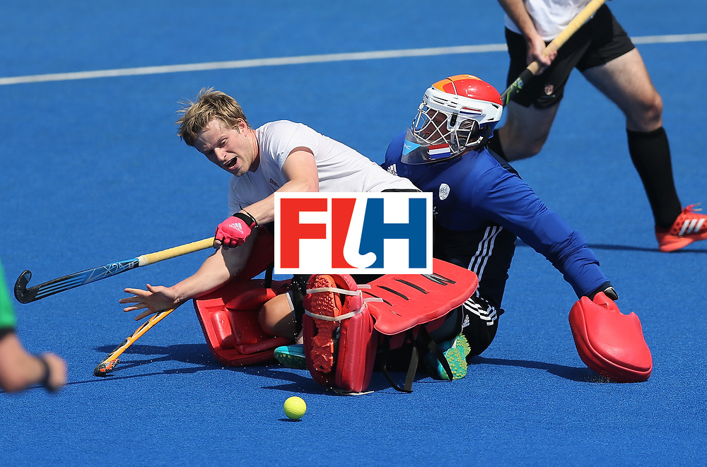 LONDON, ENGLAND - JUNE 19: Brenden Bissett of Canada is fouled by Sam van der Ven of the Netherlands during the Hero Hockey World League Semi-Final match between Netherlands and Canada at Lee Valley Hockey and Tennis Centre on June 19, 2017 in London, England. (Photo by Alex Morton/Getty Images)