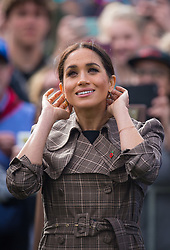 The Duchess of Sussex during a visit to view the newly unveiled UK war memorial and Pukeahu National War Memorial Park, in Wellington, on day one of the royal couple's tour of New Zealand.