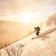Andrew Drummond Skiing Huntingon Ravine in New Hampshire at Sunrise