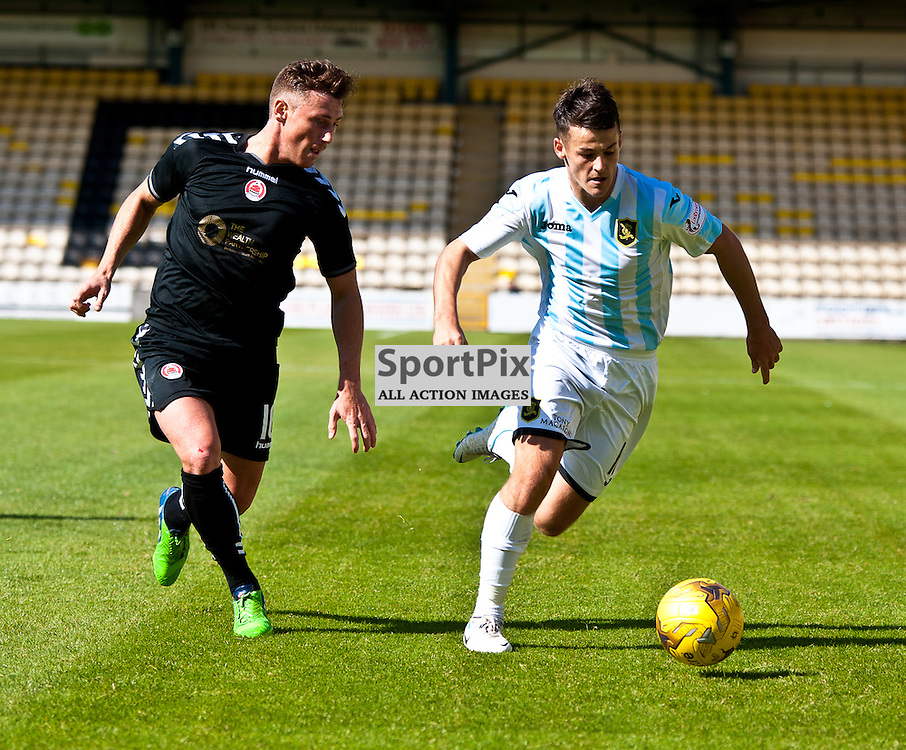 Livingston v Clyde; Scottish League Cup 1st Round, 1st August 2015; Livingston's Danny Mullen takes on Clyde's David Gormley during the Livingston v Clyde Scottish League Cup 1st round match played at Almondvale Stadium; © Chris Johnston | SportPix.org