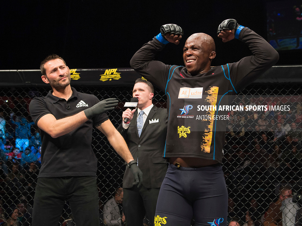 JOHANNESBURG, SOUTH AFRICA - MAY 13: Conrad Seabi celebrates after defeating Kaleka Kabanda during EFC 59 Fight Night at Carnival City on May 13, 2017 in Johannesburg, South Africa. (Photo by Anton Geyser/EFC Worldwide/Gallo Images)