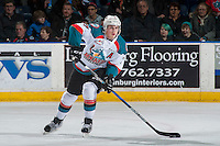 KELOWNA, CANADA - FEBRUARY 1:  Lucas Johansen #7 of the Kelowna Rockets passes the puck against the Calgary Hitmenon February 1, 2017 at Prospera Place in Kelowna, British Columbia, Canada.  (Photo by Marissa Baecker/Shoot the Breeze)  *** Local Caption ***