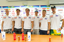 Andrej Sporn, Andrej Jerman, Rok Perko, Bostjan Kline, Andrej Krizaj and Gasper Markic during press conference of Slovenian Men Alpine Ski Team, on August 22, 2011, in SZS, Ljubljana, Slovenia. (Photo by Vid Ponikvar / Sportida)