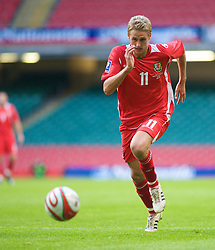 CARDIFF, WALES - Saturday, October 11, 2008: Wales' David Edwards in action against Liechtenstein during the 2010 FIFA World Cup South Africa Qualifying Group 4 match at the Millennium Stadium. (Photo by Gareth Davies/Propaganda)