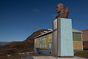 Bust of Lenin in Barentsburg, a Russian coal mining town in the Norwegian Archipelego of Svalbard. Once home to about 2000 miners and their families, less than 500 people now live here.