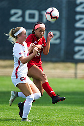 NORMAL, IL - August 10:  Riley O'Brien and Alexis Royal during a nonconference exhibition women's soccer match between the Southern Illinois Edwardsville Cougars and the Illinois State Redbirds August 10 2019 on Adelaide Street Field in Normal IL (Photo by Alan Look)