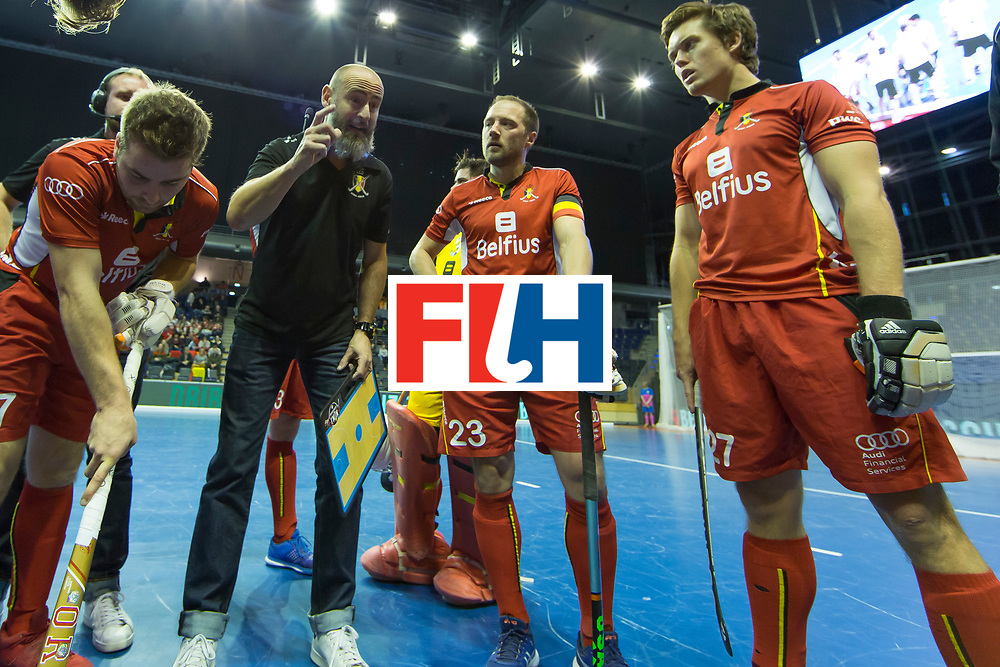 Hockey, Seizoen 2017-2018, 08-02-2018, Berlijn,  Max-Schmelling Halle, WK Zaalhockey 2018 MEN, Belgium - Russia 4-5, de CHAFFOY Alexandre (BEL) during time-out Worldsportpics copyright Willem Vernes