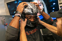 Members of the Oklahoma Sooners play games and ride go-carts at Andretti Indoor Karting & Games on Tuesday, Dec. 24, in Marietta, Ga. LSU will face Oklahoma in the 2019 College Football Playoff Semifinal at the Chick-fil-A Peach Bowl. (Paul Abell via Abell Images for the Chick-fil-A Peach Bowl)
