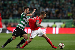 February 3, 2019 - Lisbon, Portugal - Benfica's Spanish defender Alejandro Grimaldo (R ) vies with Sporting's midfielder Bruno Fernandes from Portugal during the Portuguese League football match Sporting CP vs SL Benfica at Alvalade stadium in Lisbon, Portugal on February 3, 2019. (Credit Image: © Pedro Fiuza/NurPhoto via ZUMA Press)