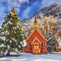 The chapel in Yosemite Valley after a winter snow, Yosemite National Park, California.