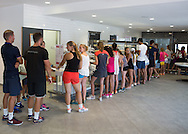 Mouratoglou Tennis Academy M.T.A Sophia Country Club, Biot, FRA.<br /> Lunch time queue in the restaurant.<br /> <br />  - Mouratoglou Tennis Academy  -  -   Sophia Country Club, - Biot -  - Frankreich  - 26 July 2016. <br /> &copy; Juergen Hasenkopf