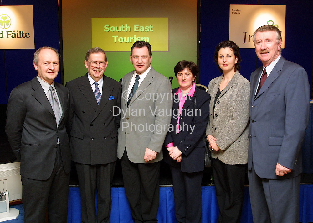 Pictured at the 2002 Regional Tourism Industry Briefing for the South East at the Newpark Hotel in Kilkenny were from left  Liam Roche Tinsley House Cahir, Niall Reddy acting Chief Executive Bord Failte, Cllr Pat Crotty Chairman South East Tourism, Carmel Donovan Tipperary,Michelle Power Tipperary Crystal and Joe Palmer Chief Executive South East Tourism..Picture Dylan Vaughan