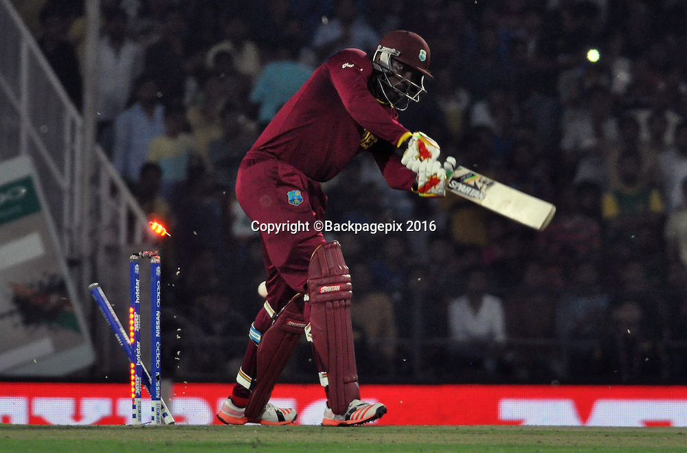 Chris Gayle of West Indies bowled by Kagiso Rabada of South Africa not in the picture during the 2016 ICC World T20 cricket match between South Africa and West Indies at Vidharbha Cricket Association, Jamtha, India on 25 March 2016 ©BackpagePix