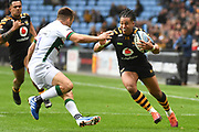 Wasps winger Marcus Watson (15) runs with the ball  during the Gallagher Premiership Rugby match between Wasps and London Irish at the Ricoh Arena, Coventry, England on 20 October 2019.