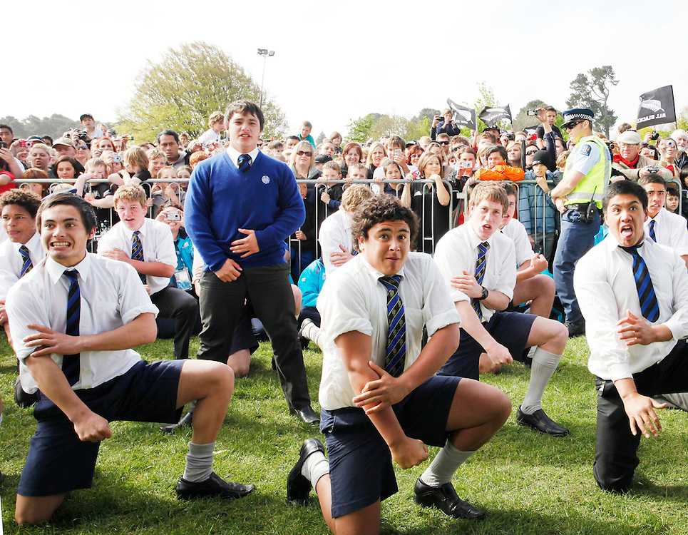 Christchurch Boys High School students perform a haka at the street parade to honour the All Black's after New Zealand won against France in the Rugby World Cup final, Christchurch, New Zealand, Tuesday, October 25, 2011.  Credit:SNPA / Pam Johnson