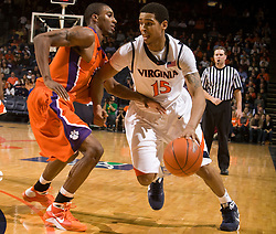 Virginia guard Sylven Landesberg (15) in action against Clemson.  The Virginia Cavaliers defeated the #12 ranked Clemson Tigers in overtime 85-81 at the John Paul Jones Arena on the Grounds of the University of Virginia in Charlottesville, VA on February 15, 2009.