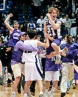 Gonzaga players and fans celebrate a last second shot that propelled them to the Washington D.C. high school basketball championship over DeMatha High School.