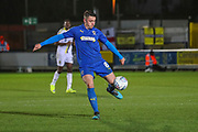 AFC Wimbledon midfielder Anthony Hartigan (8) about to volley the ball during the EFL Sky Bet League 1 match between AFC Wimbledon and Burton Albion at the Cherry Red Records Stadium, Kingston, England on 28 January 2020.