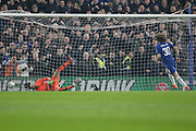 PENALTY GOAL Chelsea defender David Luiz (30) scores the winning penalty during the EFL Cup semi final second leg match between Chelsea and Tottenham Hotspur at Stamford Bridge, London, England on 24 January 2019.
