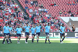 28-07-18 Emirates Airline Park, Johannesburg. Super Rugby semi-final Emirates Lions vs NSW Waratahs. 1st half. Waratahs Flanker Ned Hanigan walks back from the try line after scoring a try.<br />  Picture: Karen Sandison/African News Agency (ANA)
