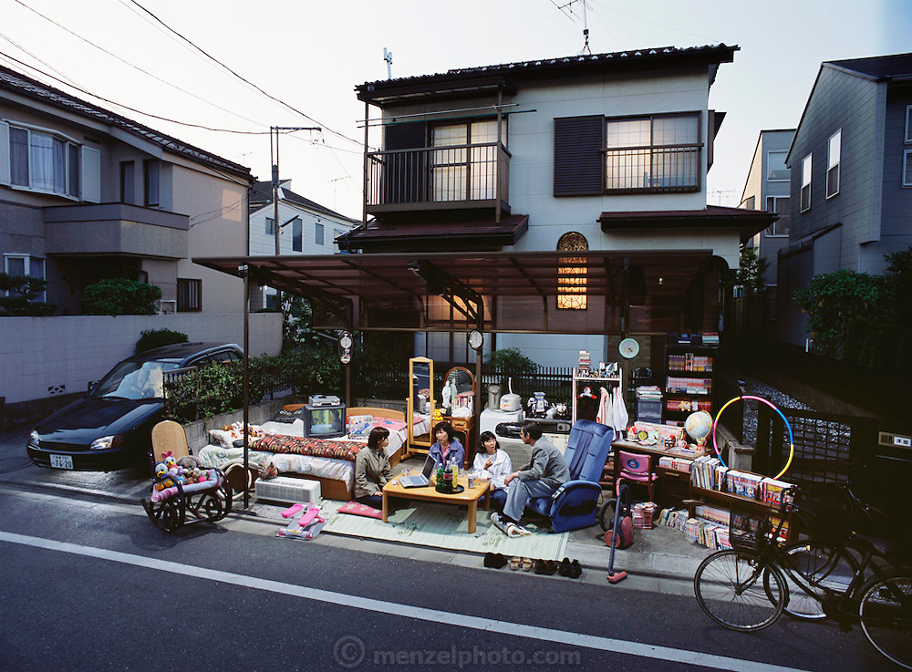 From coverage of revisit to Material World Project family in Japan, 2001. The Ukita family, with whatever new possessions they have acquired since the shooting of the photograph of the family with all of its possessions for the 1994 book Material World: A Global Family Portrait.