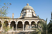 Israel, Galilee, Church of the Beatitudes on the northern coast of the Sea of Galilee in Israel. The traditional spot where Jesus gave the Sermon on the Mount.