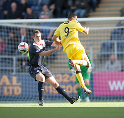 Falkirk's David McCraken and Queen of the South's Derek Lyle.<br /> half time : Falkirk 1 v 0 Queen of the South, Scottish Championship 5/10/2013.<br /> &copy;Michael Schofield.