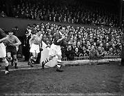 07/11/1954<br /> 11/07/1954<br /> 07 November 1954<br /> Soccer International: Ireland v Norway at Dalymount Park, Dublin. The Irish Captain Peter Farrell leads out the Irish team.