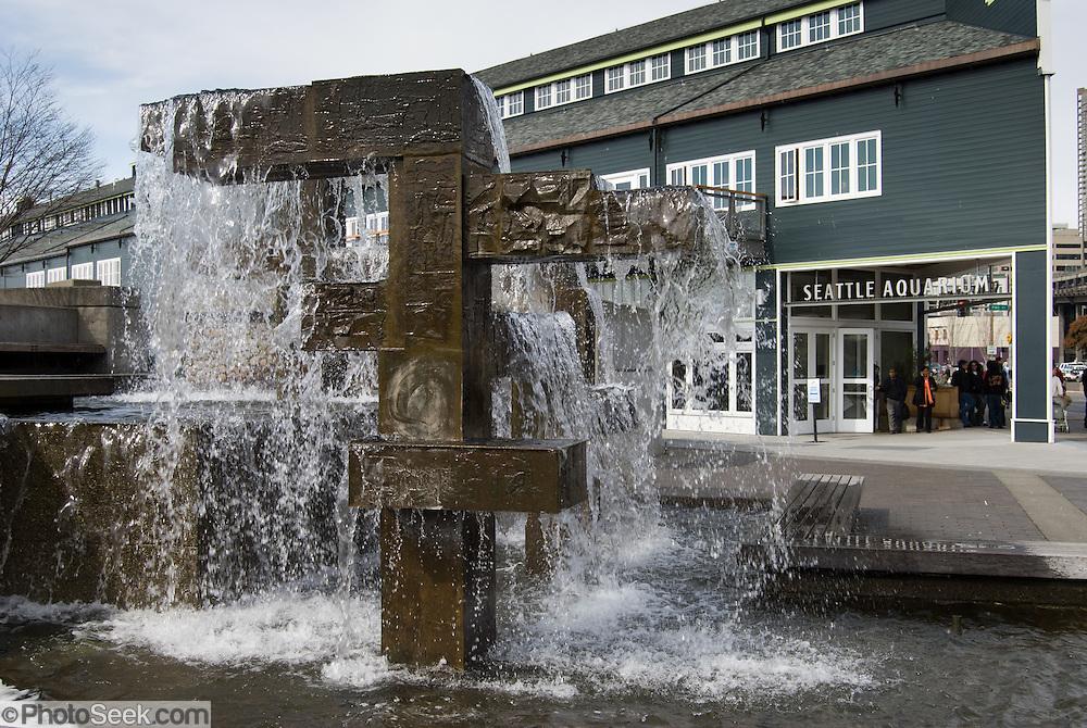 Public fountain on pier 59 at the Seattle Aquarium, Washington.
