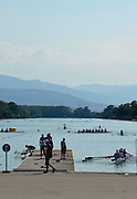 Plovdiv BULGARIA. Late even training at the Plovdiv Rowing Lake,  turn at the end of the course with a view of the [Old Mountain Range]    2012 FISA Junior and Non Olympic . Rowing Championships, Plovdiv Rowing Centre  15:00:26  Tuesday  14/08/2012  [Mandatory Credit; Peter Spurrier: Intersport Images]