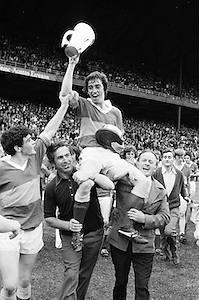 The Tipperary captain is carried around the pitch with the cup after winning the All Ireland Minor Hurling Final, Tipperary v Kilkenny in Croke Park on the 5th September 1976.