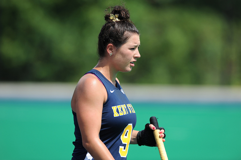 A field hockey player pauses during a home game at Murphy-Mellis Field.