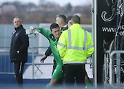 Kyle Letheren shows his frustration after being red carded  - Falkirk v Dundee, SPFL Championship at <br /> Falkirk Stadium<br />  - &copy; David Young - www.davidyoungphoto.co.uk - email: davidyoungphoto@gmail.com