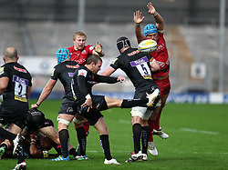 Olly Robinson of Bristol United tries to charge down a kick from Will Chudley of Exeter Braves  - Mandatory by-line: Gary Day/JMP - 09/09/2017 - RUGBY - Sandy Park Stadium - Exeter, England - Exeter Braves v Bristol United - Aviva A League