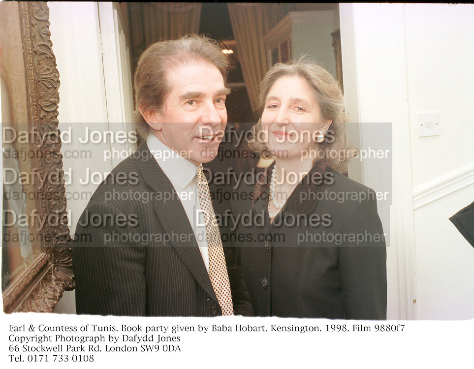 Earl & Countess of Tunis. Book party given by Baba Hobart. Kensington. 1998. Film 9880f7<br />