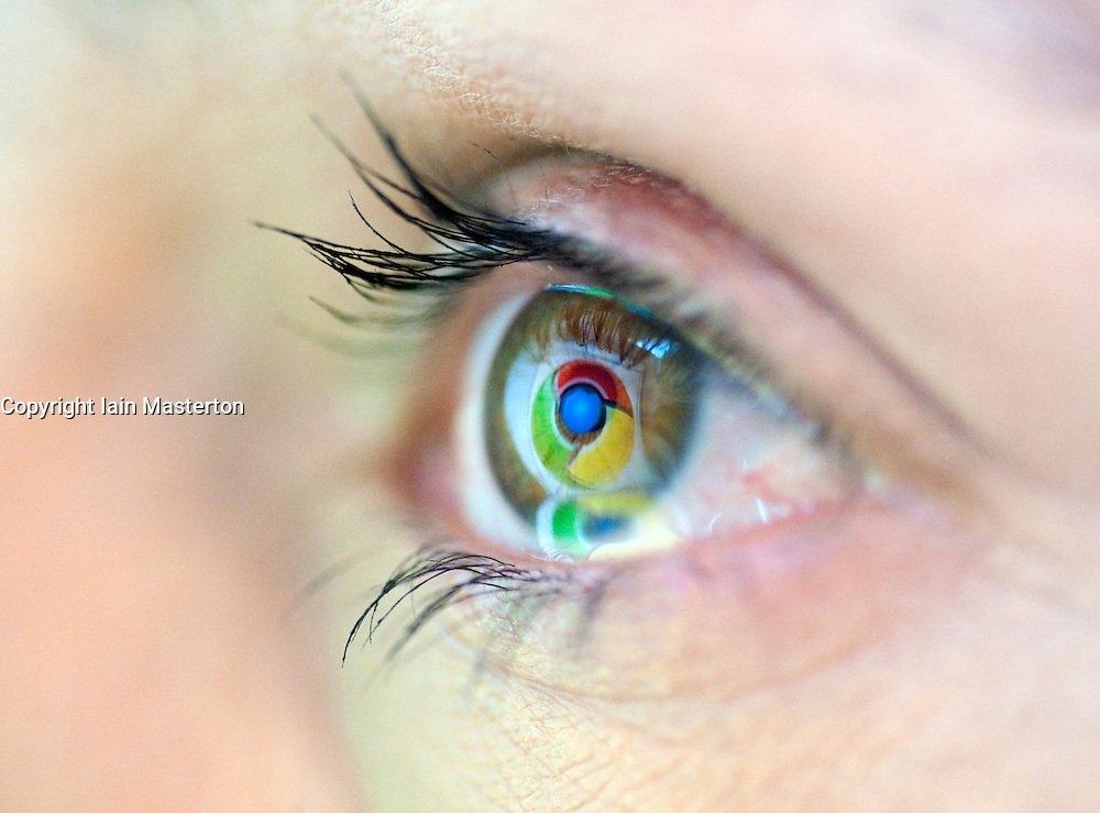 Detail of logo from Google's new internet browser Chrome reflected in woman's eye