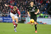 Northampton Town Midfielder Lee Martin lashes a shot during the Sky Bet League 2 match between Northampton Town and York City at Sixfields Stadium, Northampton, England on 6 February 2016. Photo by Dennis Goodwin.