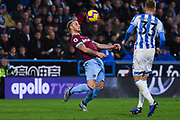 Marko Arnautovic of West Ham United (7) controls the ball with his chest during the Premier League match between Huddersfield Town and West Ham United at the John Smiths Stadium, Huddersfield, England on 10 November 2018.