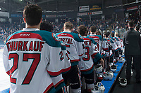 KELOWNA, CANADA - APRIL 30: The Kelowna Rockets stand on the bench during the national anthem against the Seattle Thunderbirds on April 30, 2017 at Prospera Place in Kelowna, British Columbia, Canada.  (Photo by Marissa Baecker/Shoot the Breeze)  *** Local Caption ***