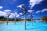 The giant fish statues are a well-known feature of the Cairns Esplanade Lagoon. Far north Queensland, Australia.