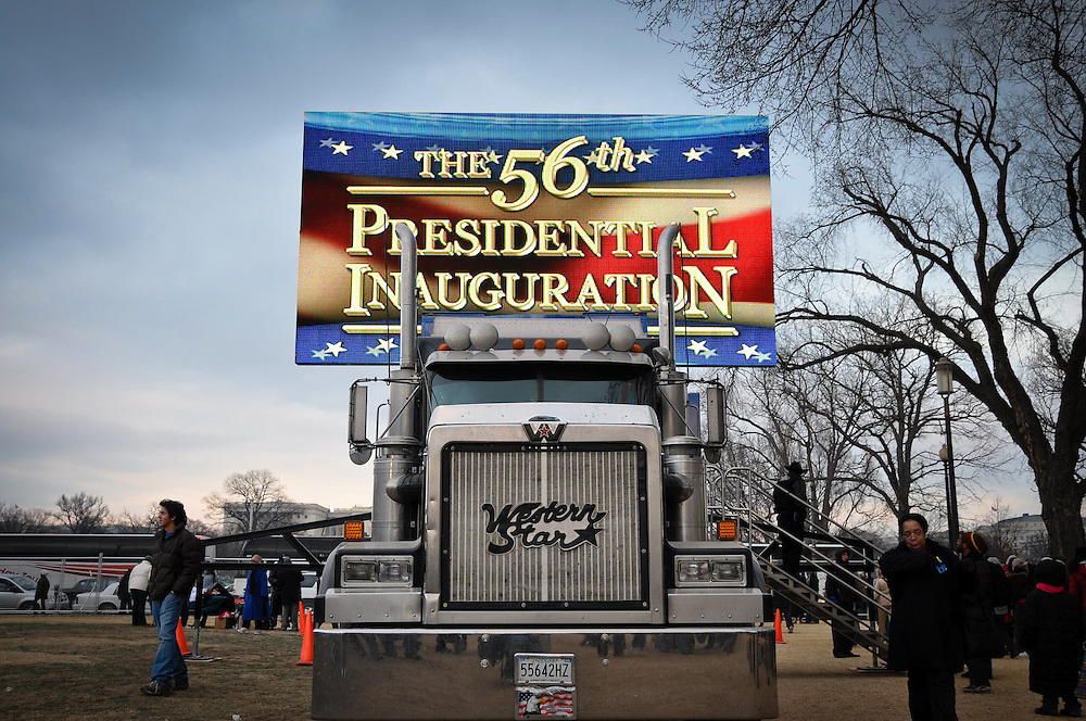 A  JumboTron screen is setup on the National Mall in preparation for the main inaugural event.  The 627sq. ft screen requires a 62-foot, 18-wheel tractor trailer for transport.