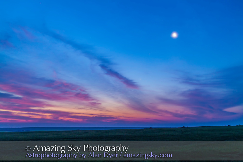 A gathering of the waning crescent Moon, with Jupiter (highest) and Venus in the dawn-sky, July 14, 2012. Aldebaran is visible to the right of Venus. Taken with the 16-35mm lens and Canon 5D MkII.