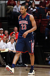 February 3, 2011; Stanford, CA, USA;  Arizona Wildcats forward Derrick Williams (23) returns to the bench after fouling out against the Stanford Cardinal during the second half at Maples Pavilion.  Arizona defeated Stanford 78-69.