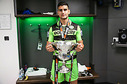 Forest Green Rovers Omar Bugiel(11) with the trophy during the Vanarama National League Play Off Final match between Tranmere Rovers and Forest Green Rovers at Wembley Stadium, London, England on 14 May 2017. Photo by Shane Healey.