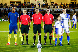 Reece Oxford of West Ham United U21s, officials and Tom Lockyer of Bristol Rovers with mascot - Mandatory by-line: Ryan Hiscott/JMP - 18/09/2018 - FOOTBALL - Memorial Stadium - Bristol, England - Bristol Rovers v West Ham United U21 - Checkatrade Trophy