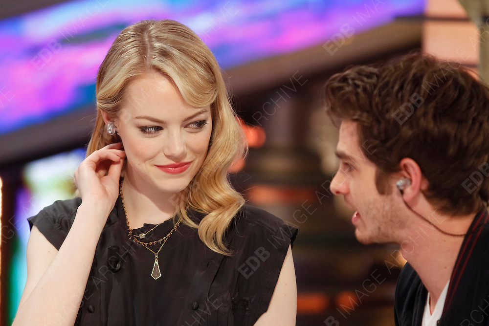 05.JULY.2012. MADRID<br /> <br /> ANDREW GARFIELD AND EMMA STONE APPEAR ON THE &quot;EL HORMIGUERO&quot; TV SHOW IN MADRID.<br /> <br /> BYLINE: EDBIMAGEARCHIVE.CO.UK<br /> <br /> *THIS IMAGE IS STRICTLY FOR UK NEWSPAPERS AND MAGAZINES ONLY*<br /> *FOR WORLD WIDE SALES AND WEB USE PLEASE CONTACT EDBIMAGEARCHIVE - 0208 954 5968*