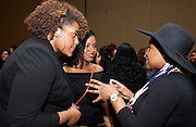 Jamesha Ford, left, Astian Waite, center, and Arielle Scott-Turner ask and answer questions as a way of breaking the ice and meeting people at the All Black Affair at Baker University Center Ballroom at Ohio University on Friday, January 29, 2016. © Ohio University / Photo by Sonja Y. Foster